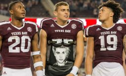 Nov 11, 2017; College Station, TX, USA; Texas A&M safety Ikenna Okeke (20) with quarterback Nick Starkel (17) and linebacker Anthony Hines III (19) after their win over the visiting New Mexico Lobos at Kyle Field. Mandatory Credit: C. Morgan Engel-USA TODAY Sports