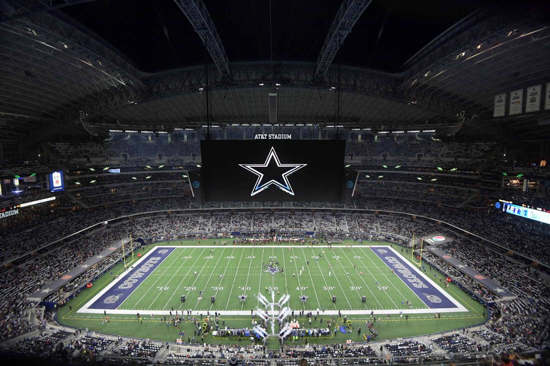 Nov 30, 2017; Arlington, TX, USA; General overall view of AT&T Stadium with the Dallas Cowboys logo on the video board during an NFL football game between the Washington Redskins and the Cowboys at AT&T Stadium. Mandatory Credit: Kirby Lee-USA TODAY Sports