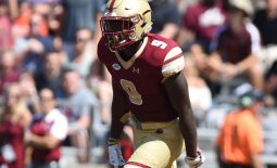 Sep 1, 2018; Chestnut Hill, MA, USA; Boston College Eagles wide receiver Kobay White (9) reacts after scoring a touchdown during the first half against the Massachusetts Minutemen at Alumni Stadium. Mandatory Credit: Bob DeChiara-USA TODAY Sports