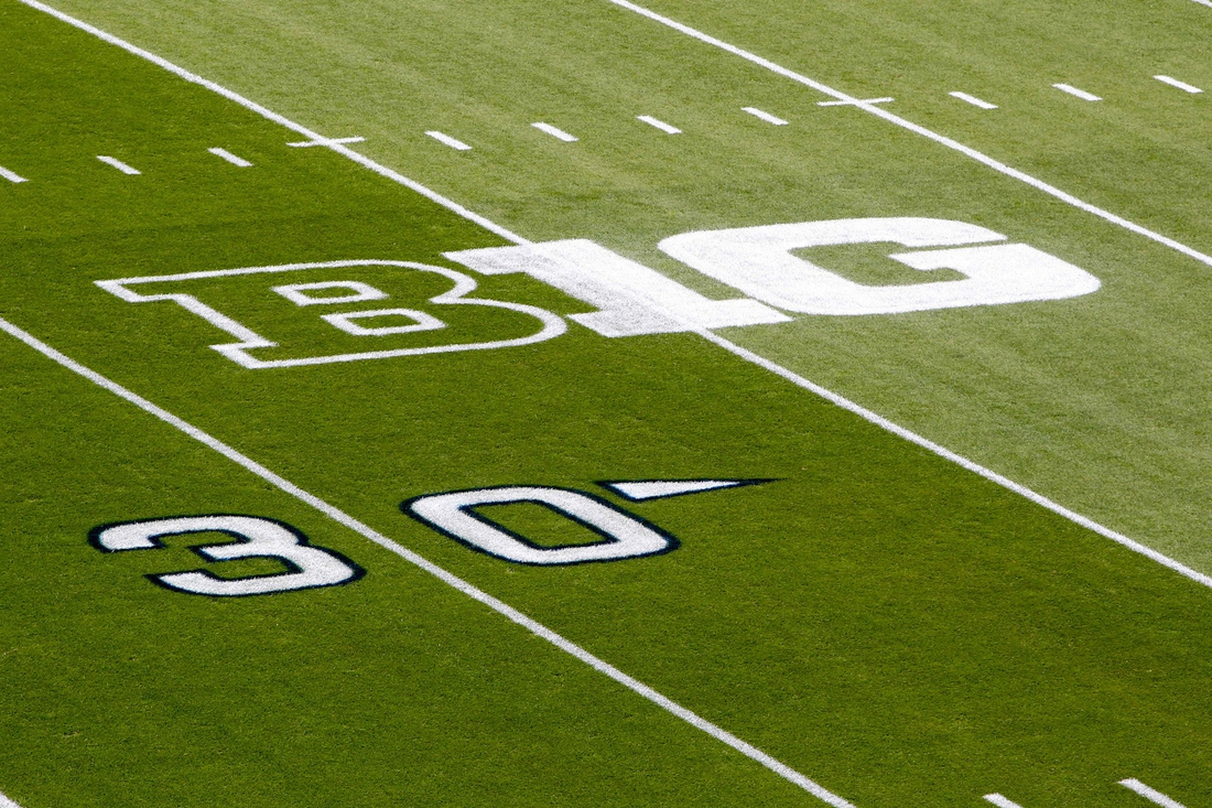 Sep 1, 2018; University Park, PA, USA; A detailed view of the Big Ten logo on the field prior to the game between the Appalachian State Mountaineers and the Penn State Nittany Lions at Beaver Stadium. Mandatory Credit: Matthew O'Haren-USA TODAY Sports