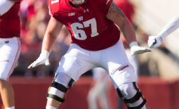 Sep 15, 2018; Madison, WI, USA; Wisconsin Badgers offensive lineman Jon Dietzen (67) during the game against the BYU Cougars at Camp Randall Stadium. Mandatory Credit: Jeff Hanisch-USA TODAY Sports