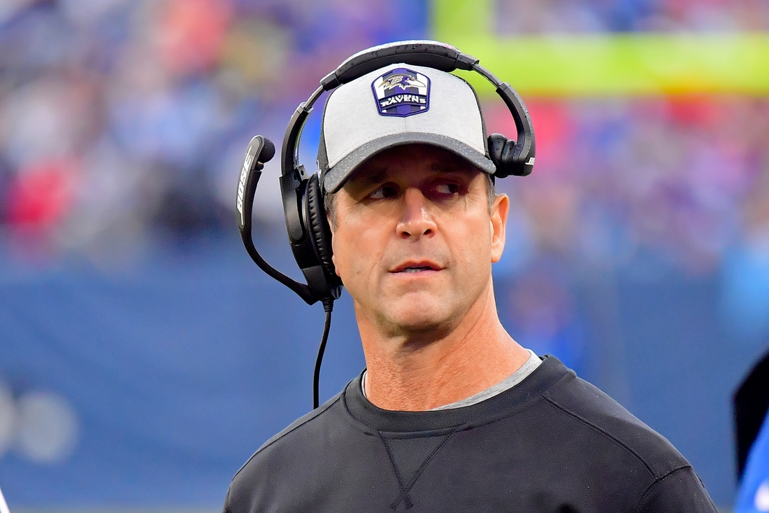 Oct 14, 2018; Nashville, TN, USA; Baltimore Ravens head coach John Harbaugh reacts on the sideline during the first half against the Tennessee Titans at Nissan Stadium. Mandatory Credit: Jim Brown-USA TODAY Sports