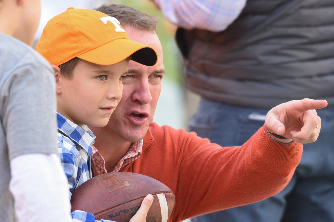 Oct 20, 2018; Knoxville, TN, USA; Tennessee Volunteers former quarterback Peyton Manning and his son Marshall before the game against the Alabama Crimson Tide at Neyland Stadium. Mandatory Credit: Randy Sartin-USA TODAY Sports