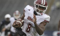 Oct 27, 2018; East Hartford, CT, USA; Massachusetts Minutemen running back Marquis Young (8) runs the ball against the Connecticut Huskies in the second half at Pratt & Whitney Stadium at Rentschler Field. UMass defeated UConn 22-17. Mandatory Credit: David Butler II-USA TODAY Sports