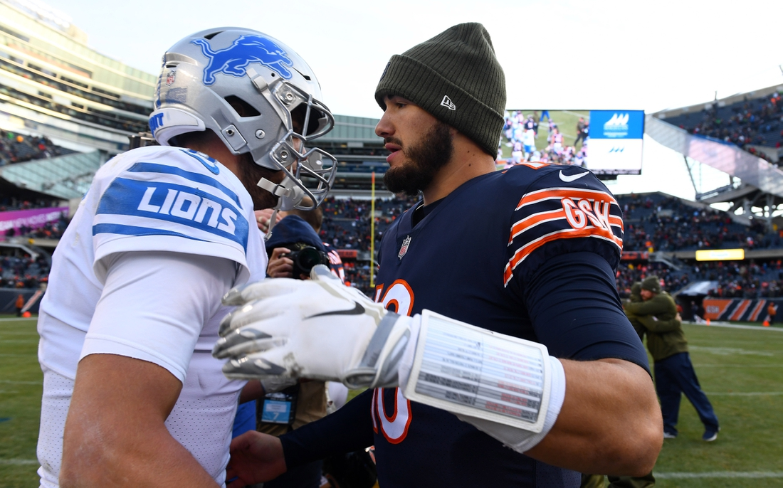 Nov 11, 2018; Chicago, IL, USA; Chicago Bears quarterback Mitchell Trubisky (10) and Detroit Lions quarterback Matthew Stafford (9) meet after the game at Soldier Field. Mandatory Credit: Mike DiNovo-USA TODAY Sports