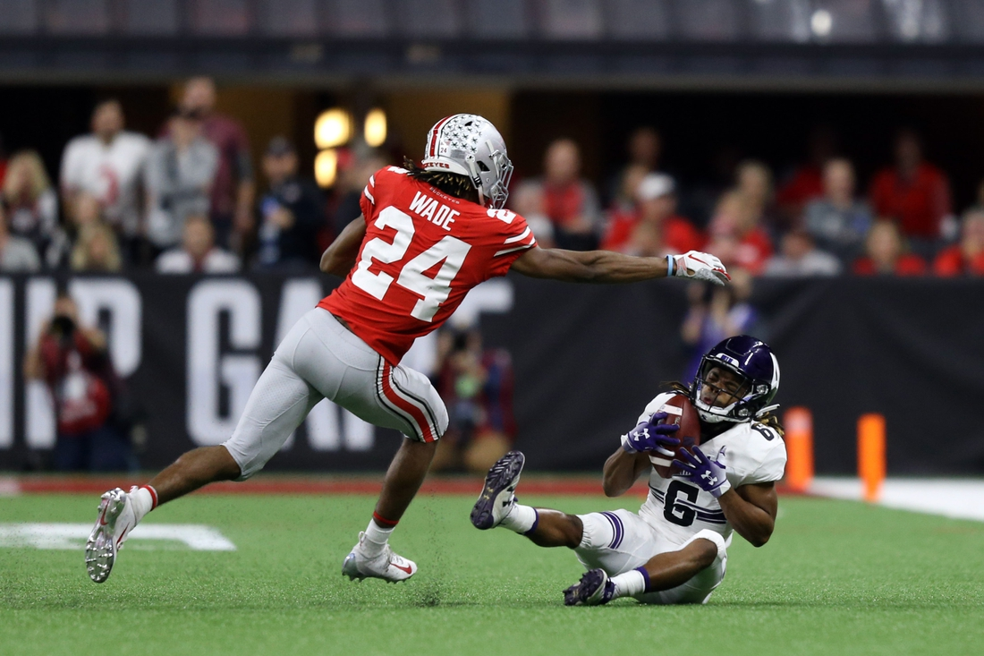 Dec 1, 2018; Indianapolis, IN, USA; Northwestern Wildcats wide receiver Jelani Roberts (6) makes a catch against Ohio State Buckeyes cornerback Shaun Wade (24) in the second half in the Big Ten conference championship game at Lucas Oil Stadium. Mandatory Credit: Aaron Doster-USA TODAY Sports