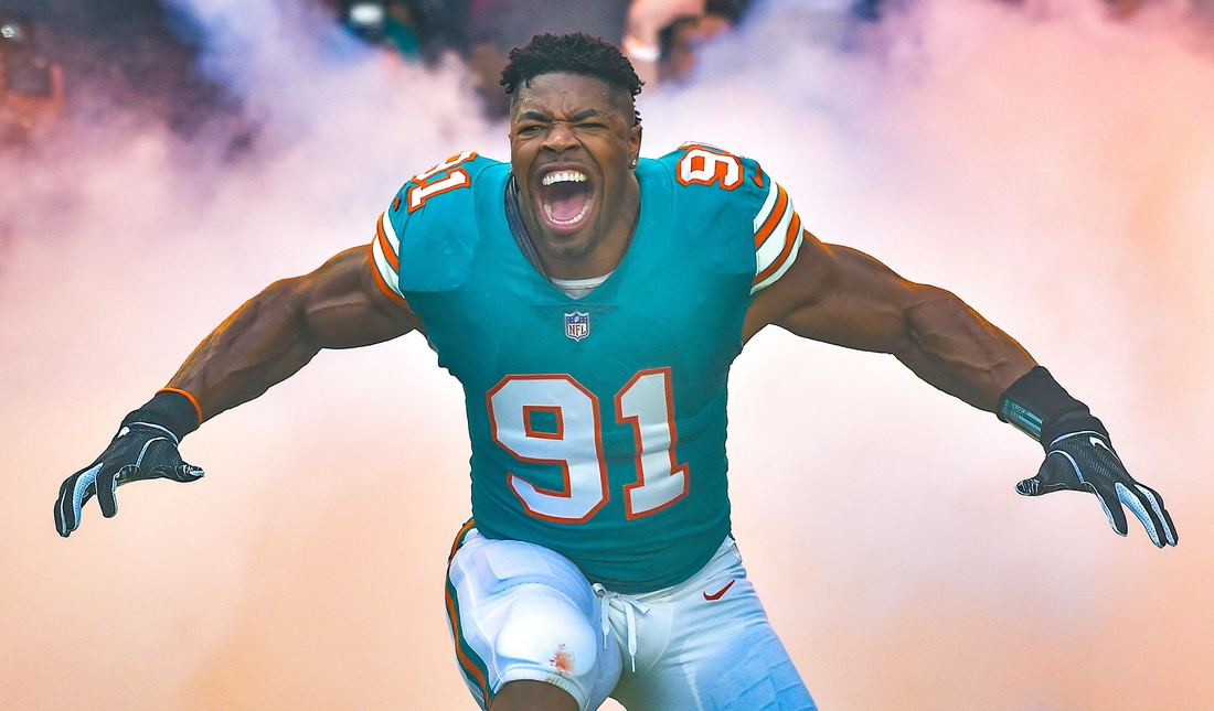 Dec 23, 2018; Miami Gardens, FL, USA; Miami Dolphins defensive end Cameron Wake (91) is being introduced before a game against the Jacksonville Jaguars at Hard Rock Stadium. Mandatory Credit: Steve Mitchell-USA TODAY Sports