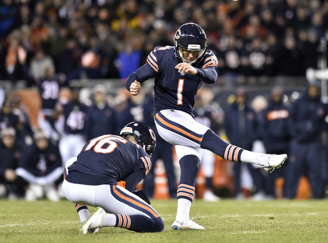 Jan 6, 2019; Chicago, IL, USA; Chicago Bears kicker Cody Parkey (1) misses a field goal in the fourth quarter against the Philadelphia Eagles in a NFC Wild Card playoff football game at Soldier Field. Mandatory Credit: Quinn Harris-USA TODAY Sports