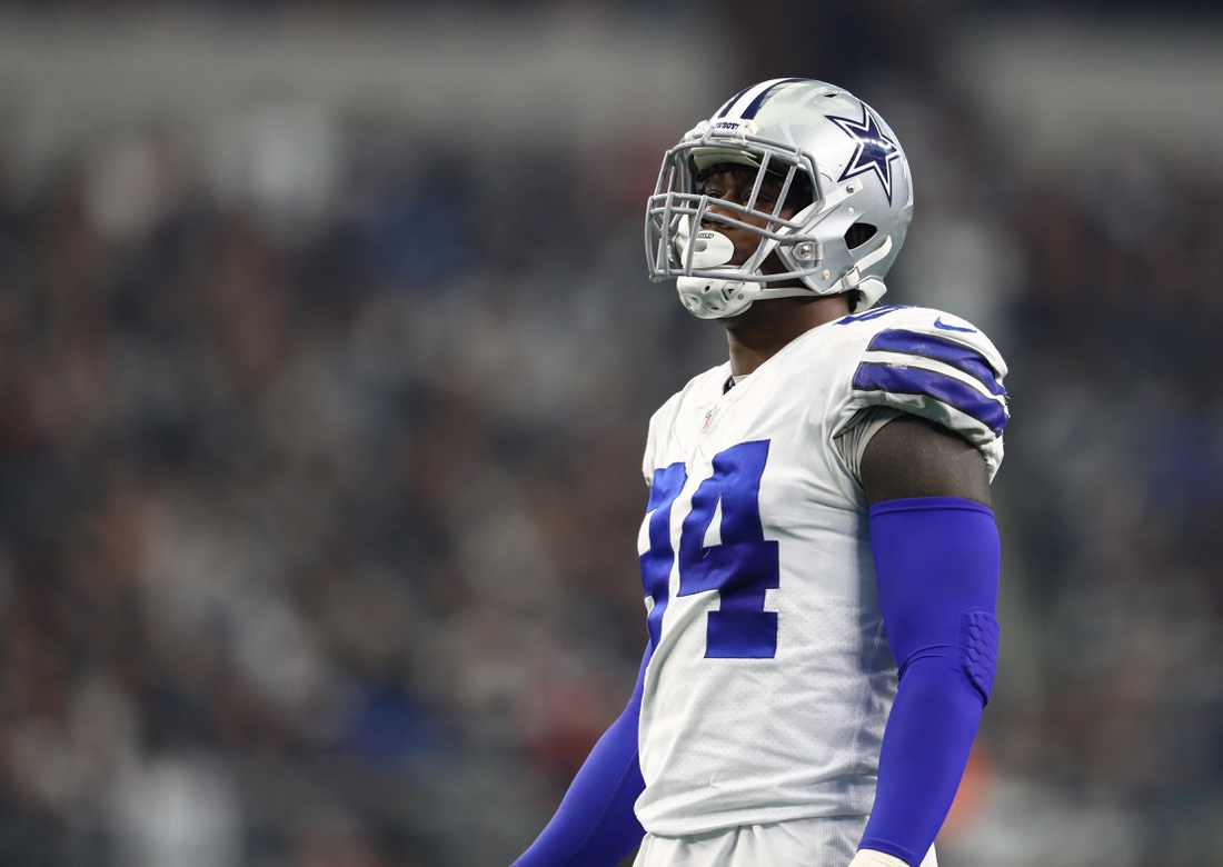 Dec 23, 2018; Arlington, TX, USA; Dallas Cowboys defensive end Randy Gregory (94) in action against the Tampa Bay Buccaneers at AT&T Stadium. Mandatory Credit: Matthew Emmons-USA TODAY Sports