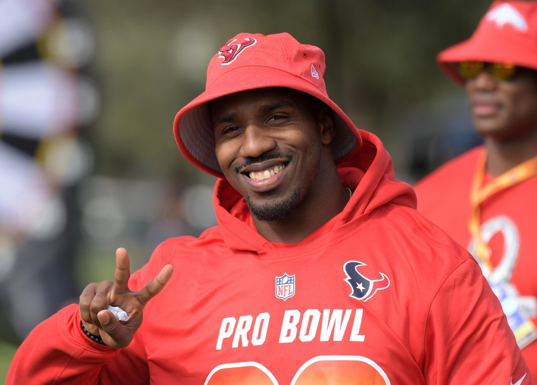 Jan 23, 2019; Kissimmee, FL, USA; Houston Texans running back Lamar Miller (26) poses during AFC practice for the 2019 Pro Bowl  at ESPN Wide World of Sports Complex. Mandatory Credit: Kirby Lee-USA TODAY Sports