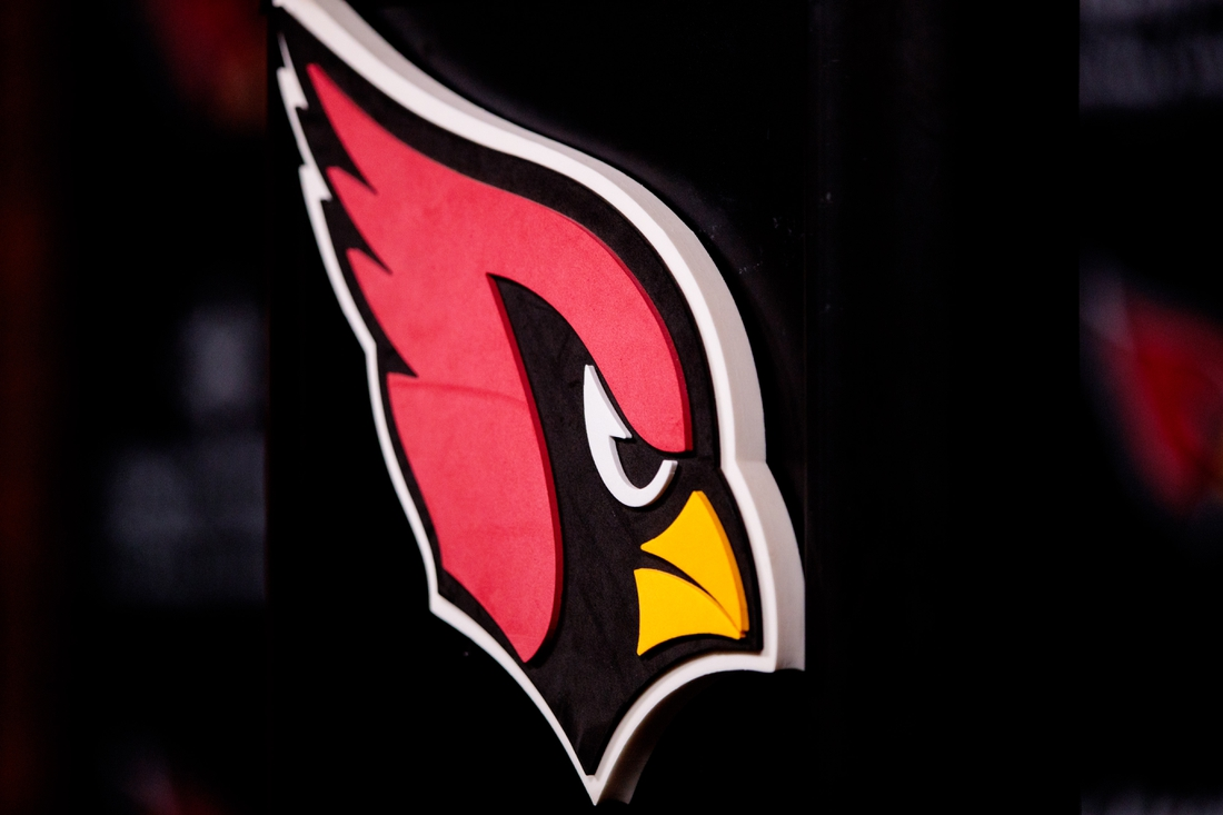Apr 26, 2019; Tempe, AZ, USA; Detailed view of an Arizona Cardinals logo during a press conference at the Cardinals Training Facility. Mandatory Credit: Mark J. Rebilas-USA TODAY Sports