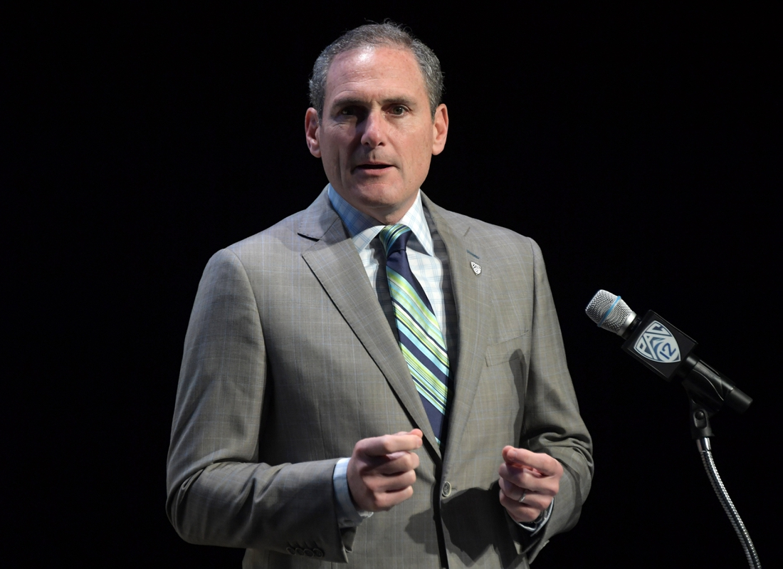Jul 24, 2019; Los Angeles, CA, USA; Pac-12 commissioner Larry Scott speaks during Pac-12 football media day at Hollywood & Highland. Mandatory Credit: Kirby Lee-USA TODAY Sports