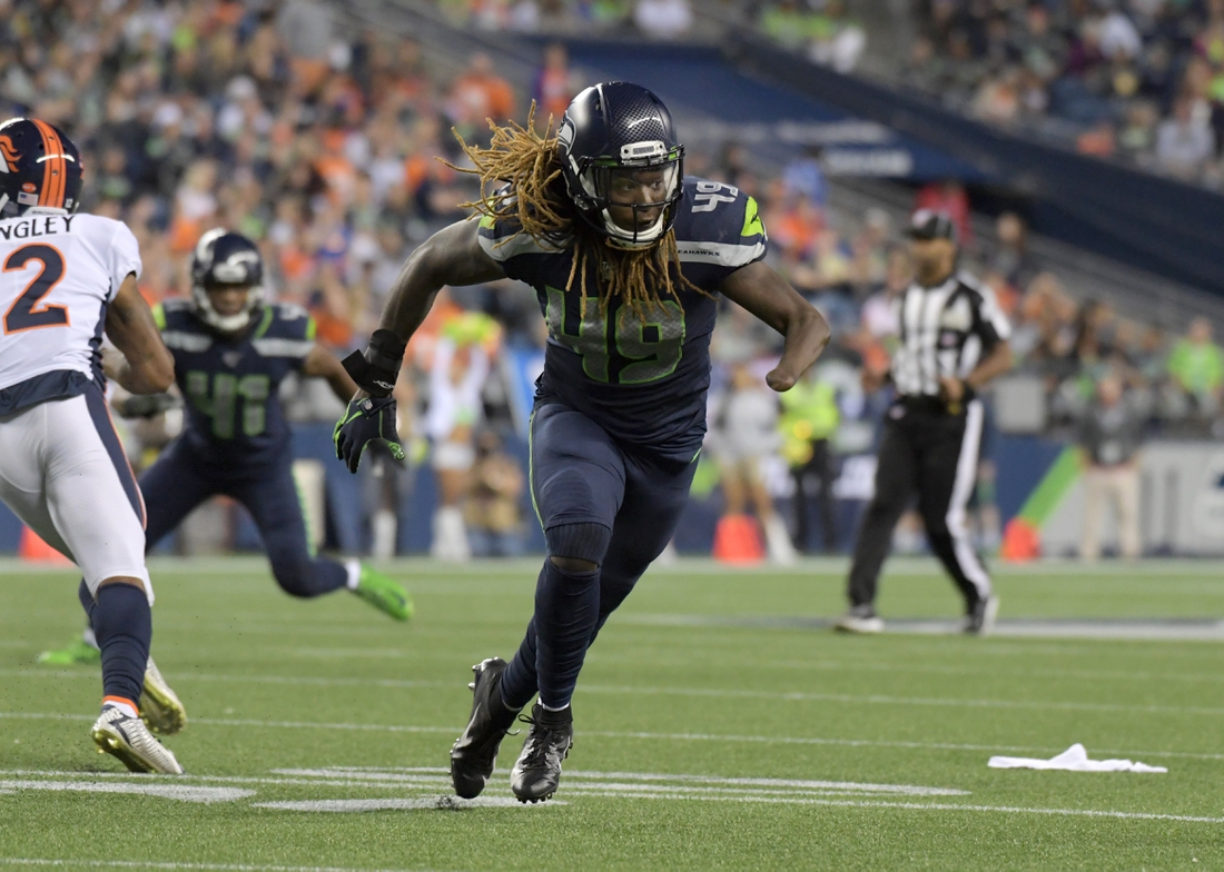 Aug 8, 2019; Seattle, WA, USA; Seattle Seahawks outside linebacker Shaquem Griffin (49) reacts in the second half against the Denver Broncos at CenturyLink Field. The Seahawks won 22-14. Mandatory Credit: Kirby Lee-USA TODAY Sports