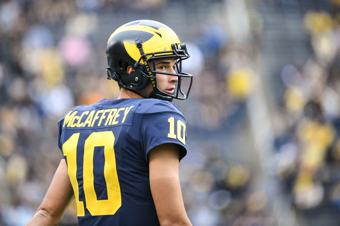 Aug 31, 2019; Ann Arbor, MI, USA; Michigan Wolverines quarterback Dylan McCaffrey (10) before the game against the Middle Tennessee Blue Raiders at Michigan Stadium. Mandatory Credit: Tim Fuller-USA TODAY Sports