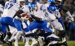 Sep 7, 2019; University Park, PA, USA; Buffalo Bulls running back Kevin Marks (5) runs with the ball during the third quarter against the Penn State Nittany Lions at Beaver Stadium. Penn State defeated Buffalo 45-13. Mandatory Credit: Matthew O'Haren-USA TODAY Sports
