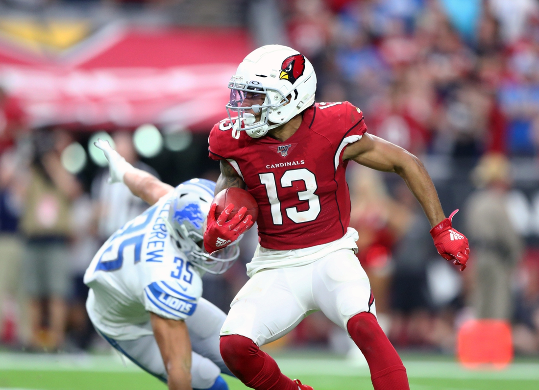 Sep 8, 2019; Glendale, AZ, USA; Arizona Cardinals wide receiver Christian Kirk (13) against the Detroit Lions at State Farm Stadium. Mandatory Credit: Mark J. Rebilas-USA TODAY Sports