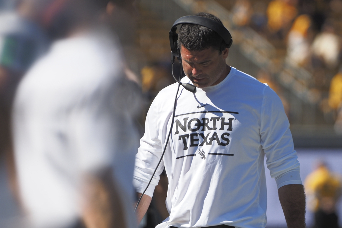 Sep 14, 2019; Berkeley, CA, USA; North Texas Mean Green head coach Seth Littrell on the sideline during the third quarter against the California Golden Bears at California Memorial Stadium. Mandatory Credit: Kelley L Cox-USA TODAY Sports