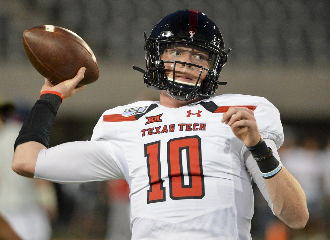 Sep 14, 2019; Tucson, AZ, USA; Texas Tech Red Raiders quarterback Alan Bowman (10) warms up before the game against the Arizona Wildcats at Arizona Stadium. Mandatory Credit: Casey Sapio-USA TODAY Sports