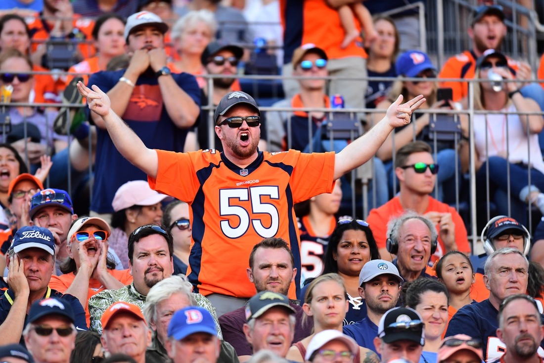 Sep 29, 2019; Denver, CO, USA; Denver Broncos fan reacts from the stands in the fourth quarter against the Jacksonville Jaguars at Empower Field at Mile High. Mandatory Credit: Ron Chenoy-USA TODAY Sports