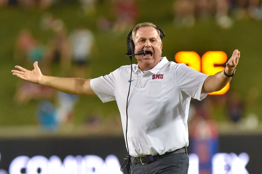 SMU Mustangs head coach Sonny Dykes questions the call during the third quarter against Tulsa Golden Hurricanes at Gerald J. Ford Stadium. Mandatory Credit: Timothy Flores-USA TODAY Sports