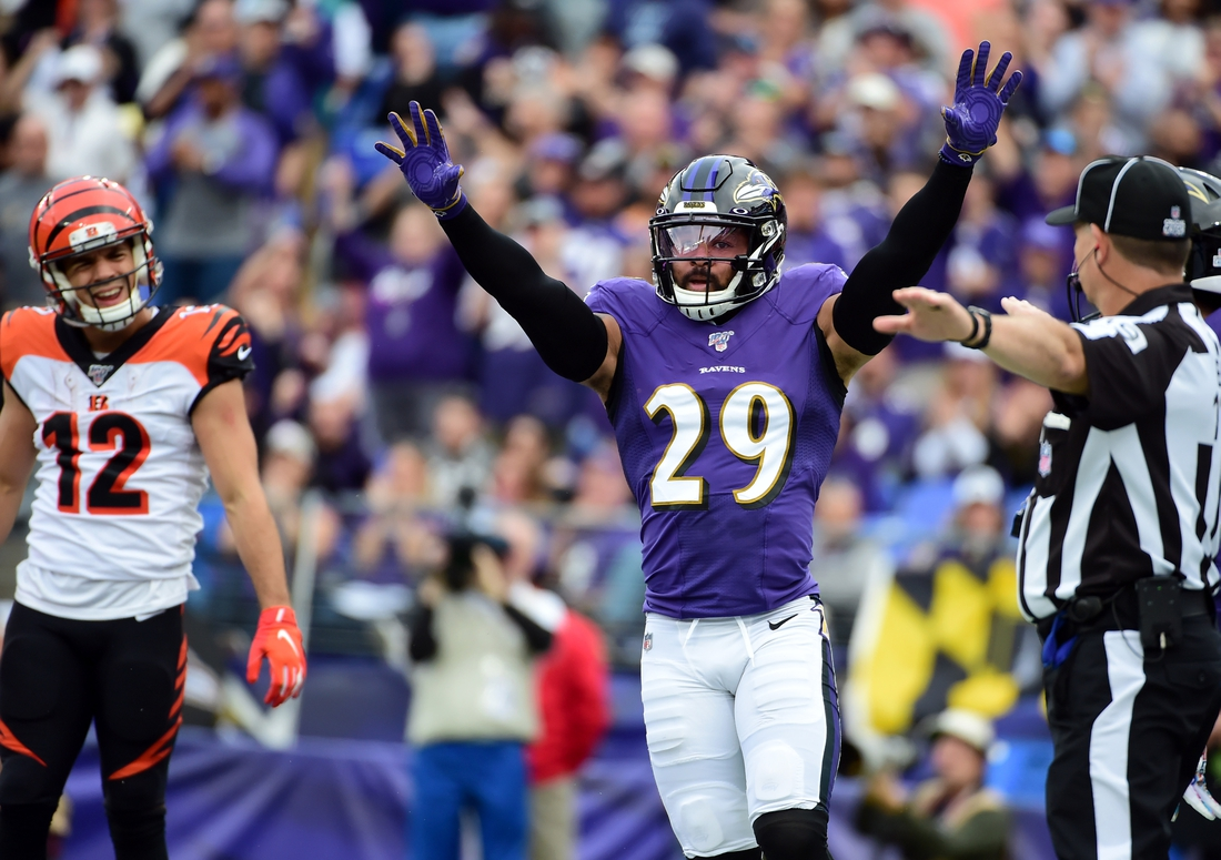 Oct 13, 2019; Baltimore, MD, USA; Baltimore Ravens safety Earl Thomas III (29) reacts after an incomplete pass in the second quarter against the Cincinnati Bengals at M&T Bank Stadium. Mandatory Credit: Evan Habeeb-USA TODAY Sports