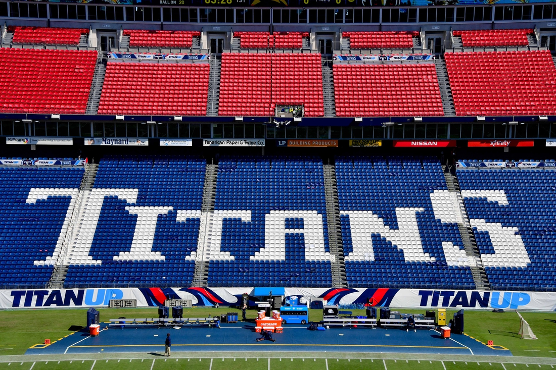 Oct 20, 2019; Nashville, TN, USA; Tennessee Titans logo spelled out in the visitors seating area inside Nissan Stadium prior to the game against the Los Angeles Chargers. Mandatory Credit: Jim Brown-USA TODAY Sports