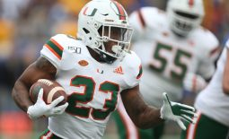 Oct 26, 2019; Pittsburgh, PA, USA;   Miami Hurricanes running back Cam'Ron Harris (23) rushes the ball against the Pittsburgh Panthers during the first quarter at Heinz Field. Mandatory Credit: Charles LeClaire-USA TODAY Sports