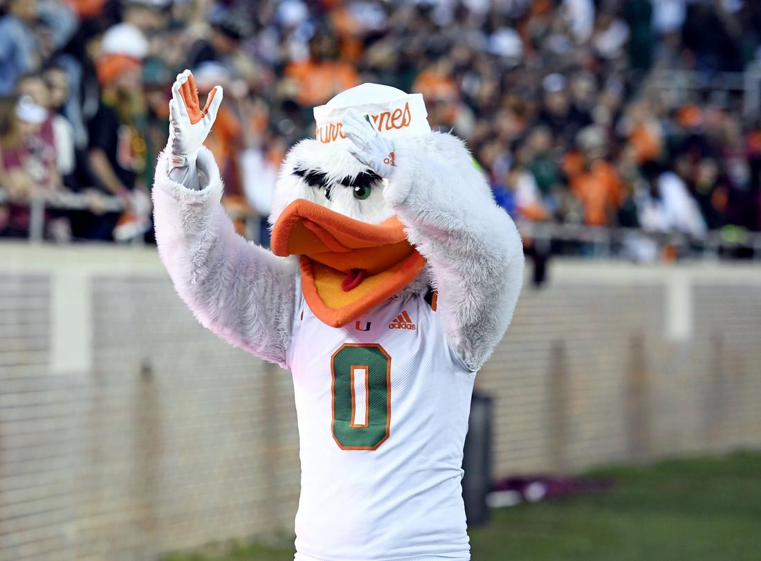 Nov 2, 2019; Tallahassee, FL, USA; Miami Hurricanes mascot Sebastian celebrates the win against the Florida State Seminoles at Doak Campbell Stadium. Mandatory Credit: Melina Myers-USA TODAY Sports