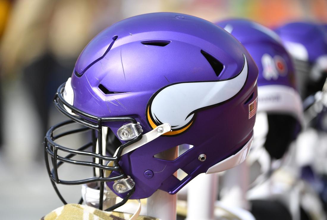 Nov 3, 2019; Kansas City, MO, USA; A general view of a Minnesota Vikings helmet during the game against the Kansas City Chiefs at Arrowhead Stadium. Mandatory Credit: Denny Medley-USA TODAY Sports