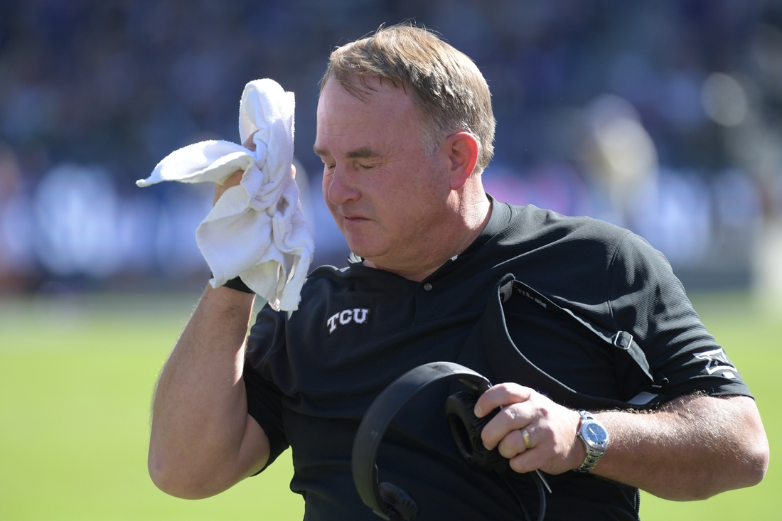 Nov 9, 2019; Fort Worth, TX, USA; TCU Horned Frogs head coach Gary Patterson reacts in the first half against the Baylor Bears at Amon G. Carter Stadium. Mandatory Credit: Kirby Lee-USA TODAY Sports