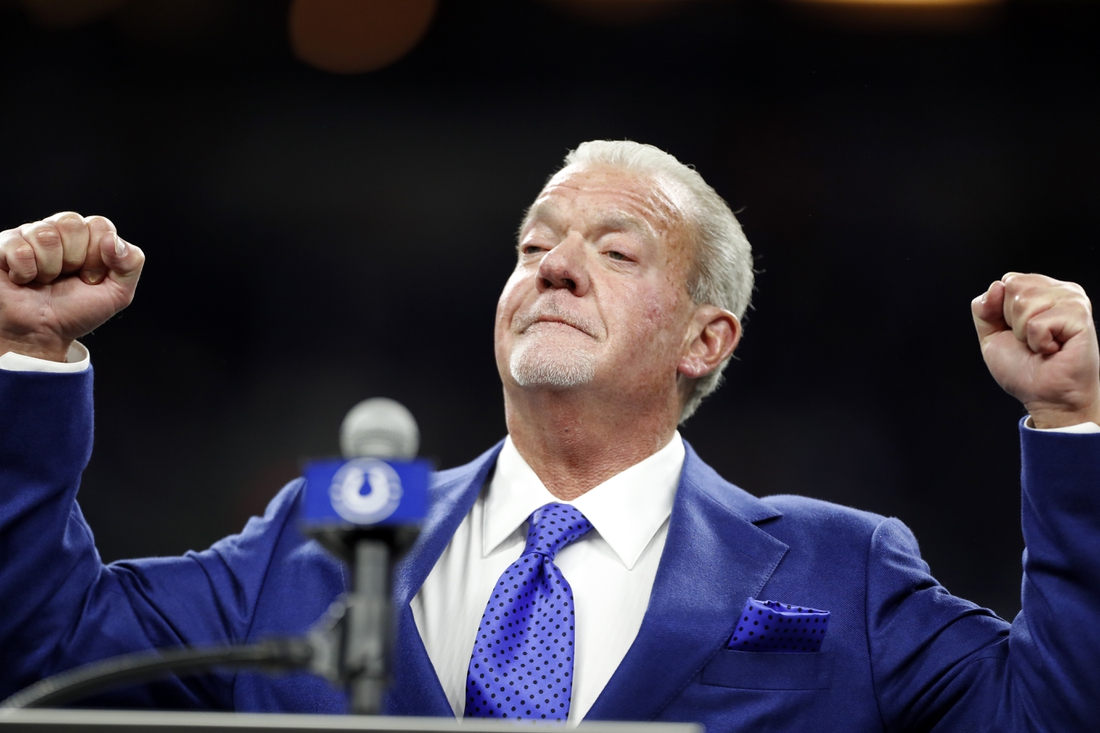 Nov 10, 2019; Indianapolis, IN, USA; Indianapolis Colts owner Jim Irsay addresses the crowd in a ceremony to honor former Colts defensive end Dwight Freeney being inducted into the Indianapolis Colts Ring of Honor at halftime of a game against the Miami Dolphins at Lucas Oil Stadium. Mandatory Credit: Brian Spurlock-USA TODAY Sports