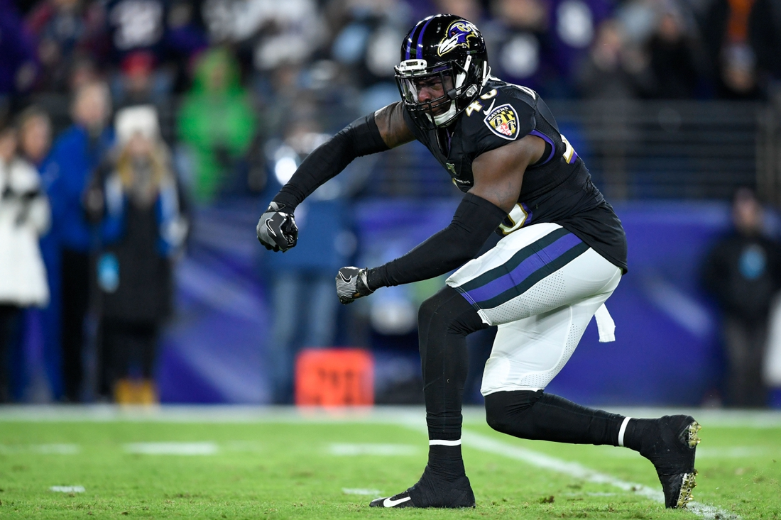 Nov 3, 2019; Baltimore, MD, USA; Baltimore Ravens inside linebacker Patrick Onwuasor (48) reacts during the first quarter against the New England Patriots at M&T Bank Stadium. Mandatory Credit: Douglas DeFelice-USA TODAY Sports