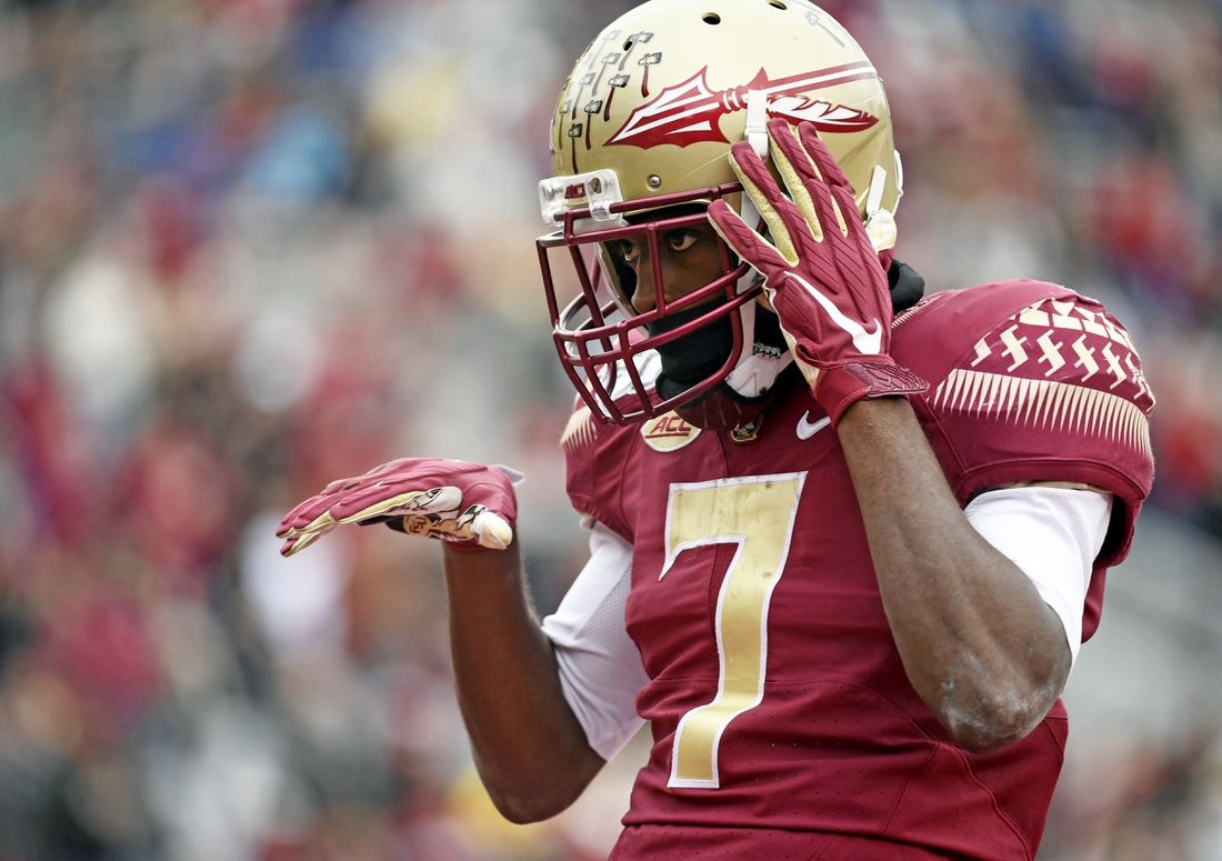 Nov 16, 2019; Tallahassee, FL, USA; Florida State Seminoles wide receiver DJ Matthews (7) celebrates after catching a touchdown pass during the second half against the Alabama State Hornets at Doak Campbell Stadium. Mandatory Credit: Melina Myers-USA TODAY Sports
