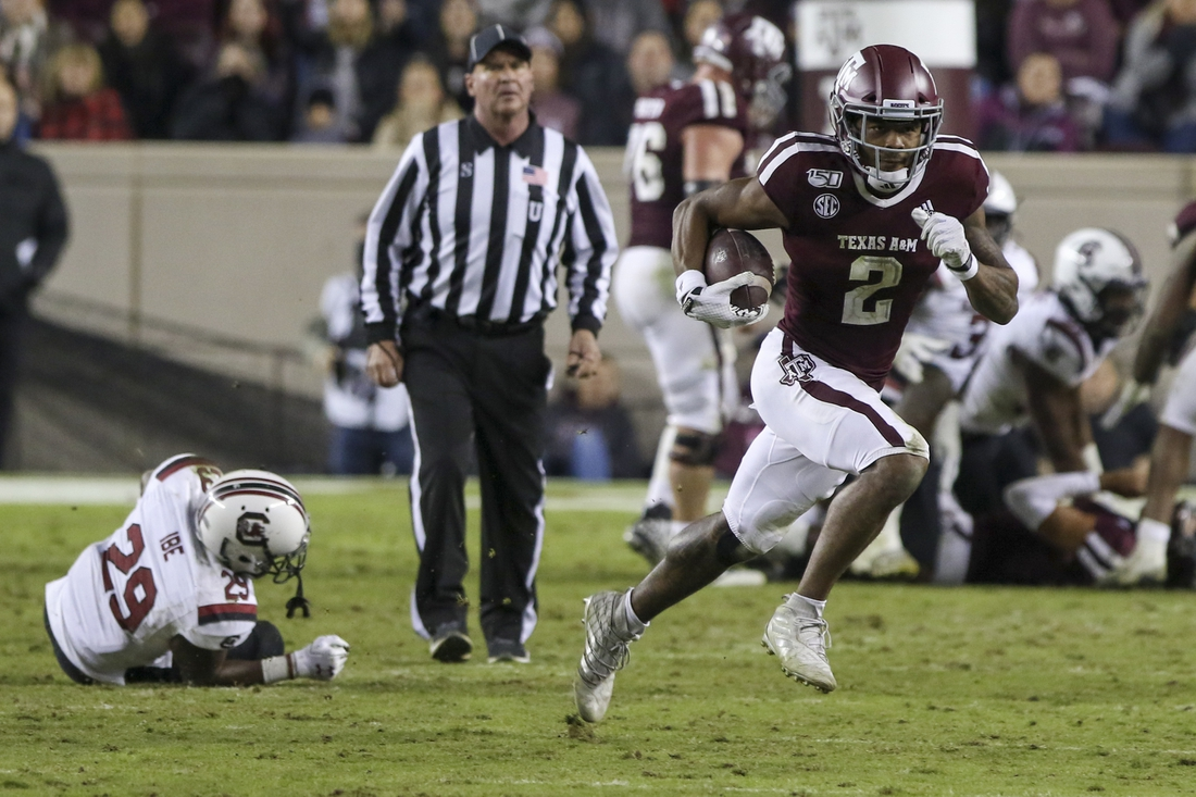 Nov 16, 2019; College Station, TX, USA; Texas A&M Aggies wide receiver Jhamon Ausbon (2) runs for yards during the third quarter against the South Carolina Gamecocks at Kyle Field. Mandatory Credit: John Glaser-USA TODAY Sports