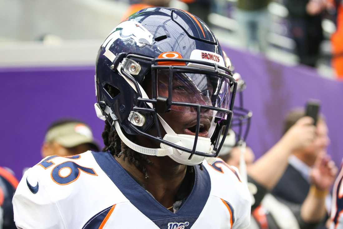 Nov 17, 2019; Minneapolis, MN, USA; Denver Broncos defensive back Isaac Yiadom (26) walks on to the field prior to a game against the Minnesota Vikings at U.S. Bank Stadium. Mandatory Credit: Ben Ludeman-USA TODAY Sports