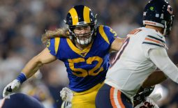 November 17, 2019; Los Angeles, CA, USA; Los Angeles Rams outside linebacker Clay Matthews (52) moves in against Chicago Bears quarterback Mitchell Trubisky (10) during the second half at the Los Angeles Memorial Coliseum. Mandatory Credit: Gary A. Vasquez-USA TODAY Sports