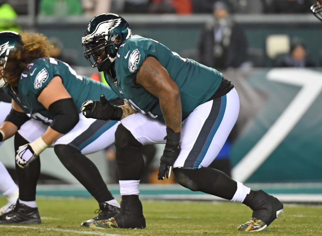 Nov 17, 2019; Philadelphia, PA, USA; Philadelphia Eagles offensive tackle Jason Peters (71) prepares for the snap against the New England Patriots at Lincoln Financial Field. Mandatory Credit: Eric Hartline-USA TODAY Sports