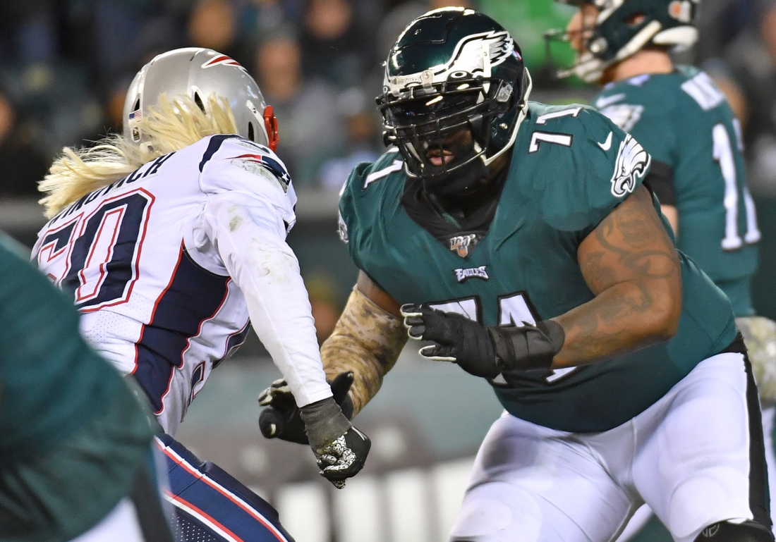 Nov 17, 2019; Philadelphia, PA, USA; Philadelphia Eagles offensive tackle Jason Peters (71) prepares to block against the New England Patriots at Lincoln Financial Field. Mandatory Credit: Eric Hartline-USA TODAY Sports