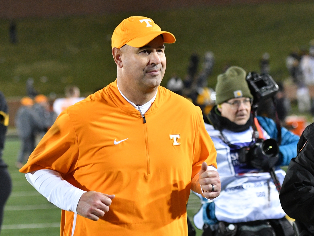 Nov 23, 2019; Columbia, MO, USA; Tennessee Volunteers head coach Jeremy Pruitt leaves the field after the win over the Missouri Tigers at Memorial Stadium/Faurot Field. Mandatory Credit: Denny Medley-USA TODAY Sports