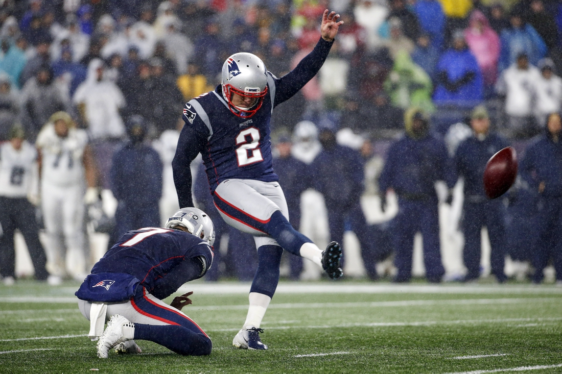 Nov 24, 2019; Foxborough, MA, USA; New England Patriots kicker Nick Folk (2) attempts a field goal during the first half against the Dallas Cowboys at Gillette Stadium. Mandatory Credit: Greg M. Cooper-USA TODAY Sports