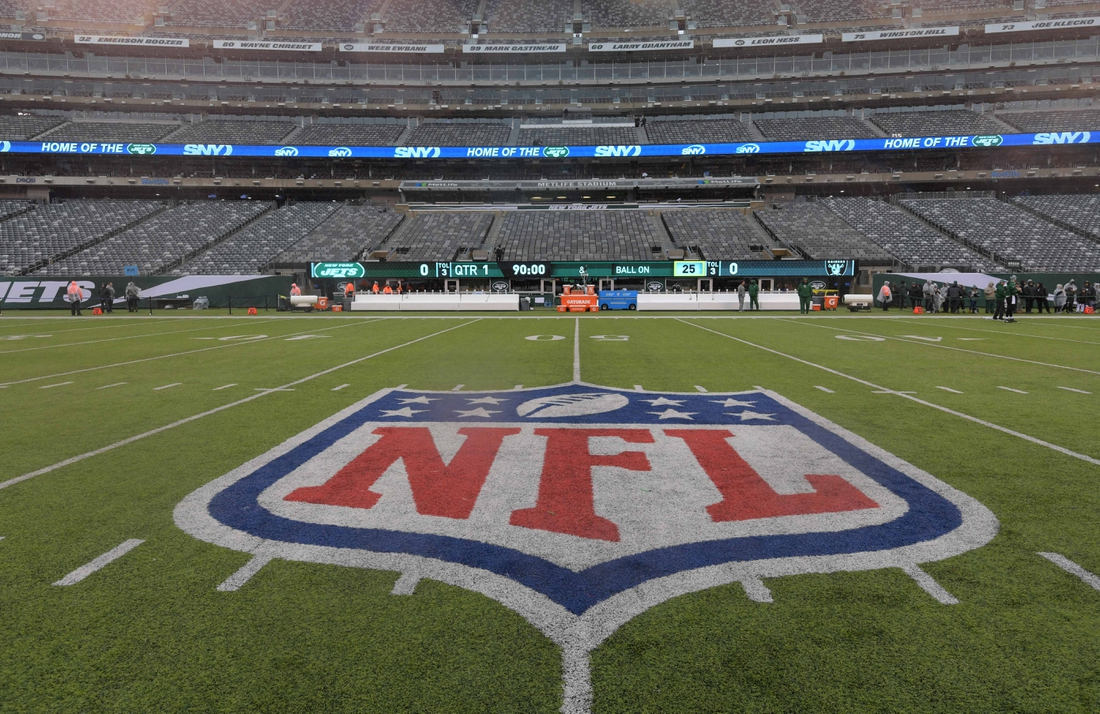 Nov 24, 2019; East Rutherford, NJ, USA; General overall view of the NFL shield logo at midfield at MetLife Stadium. The Jets defeated the Raiders 34-3.  Mandatory Credit: Kirby Lee-USA TODAY Sports