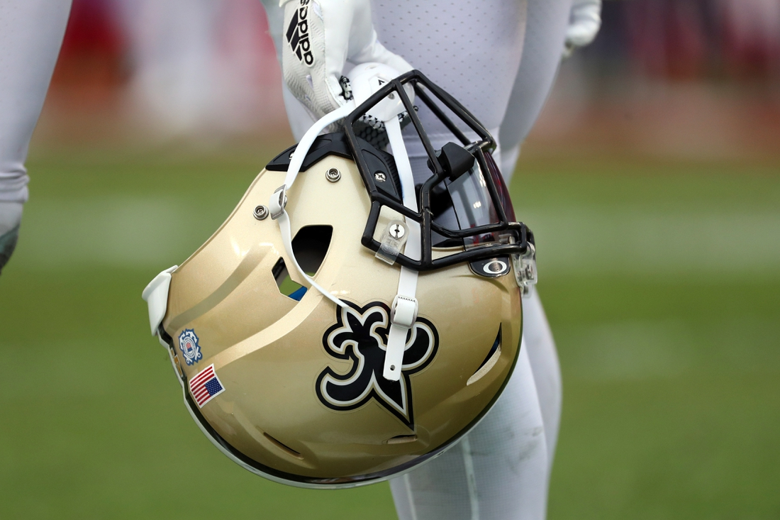 Nov 17, 2019; Tampa, FL, USA; A detail view of New Orleans Saints helmet during the second half at Raymond James Stadium. Mandatory Credit: Kim Klement-USA TODAY Sports