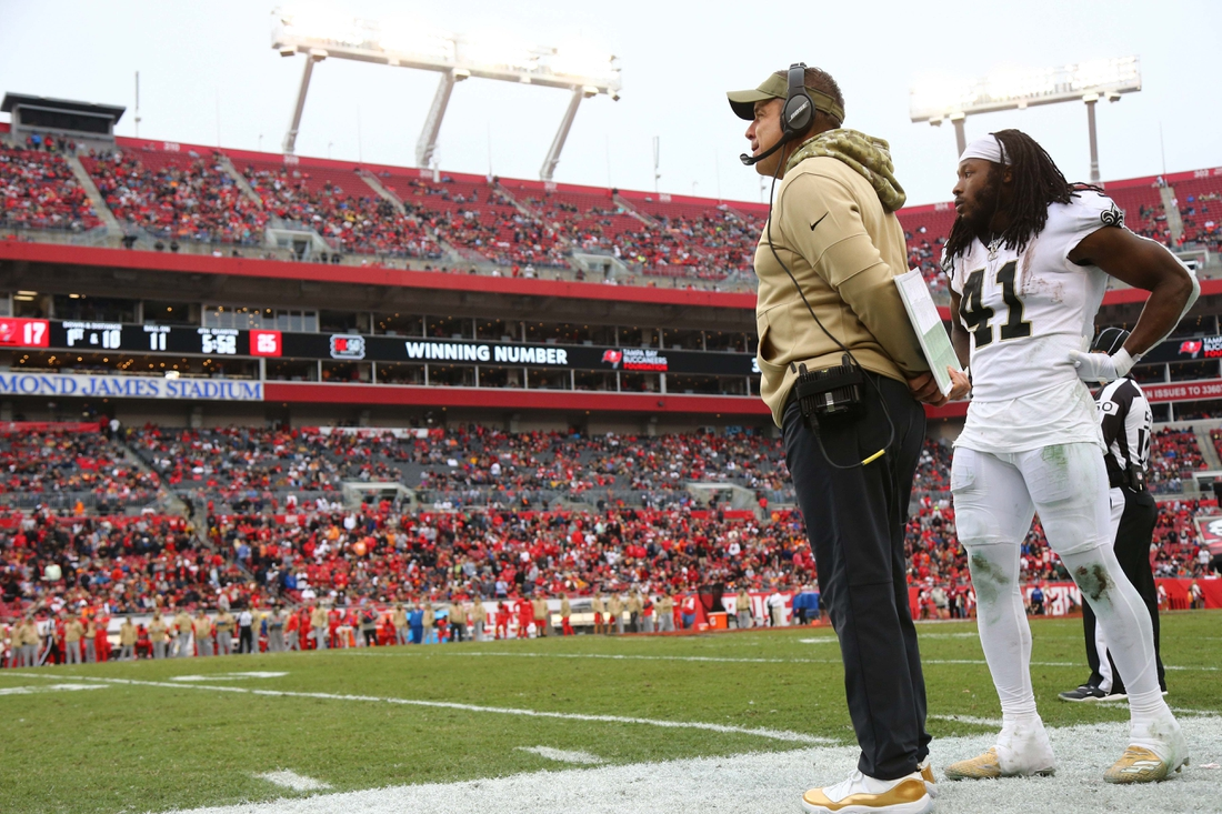 Nov 17, 2019; Tampa, FL, USA; New Orleans Saints head coach Sean Payton and running back Alvin Kamara (41) look on during the second half at Raymond James Stadium. Mandatory Credit: Kim Klement-USA TODAY Sports