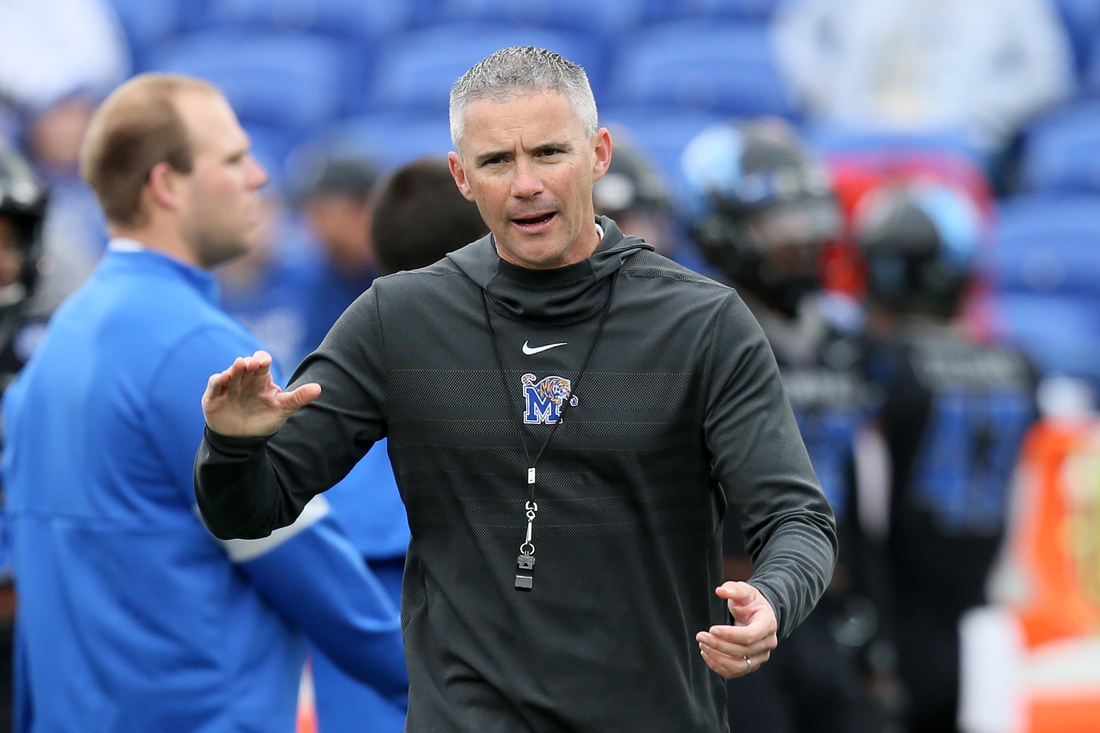 Nov 29, 2019; Memphis, TN, USA; Memphis Tigers head coach Mike Norvell prior to the game against the Cincinnati Bearcats at Liberty Bowl Memorial Stadium. Mandatory Credit: Nelson Chenault-USA TODAY Sports