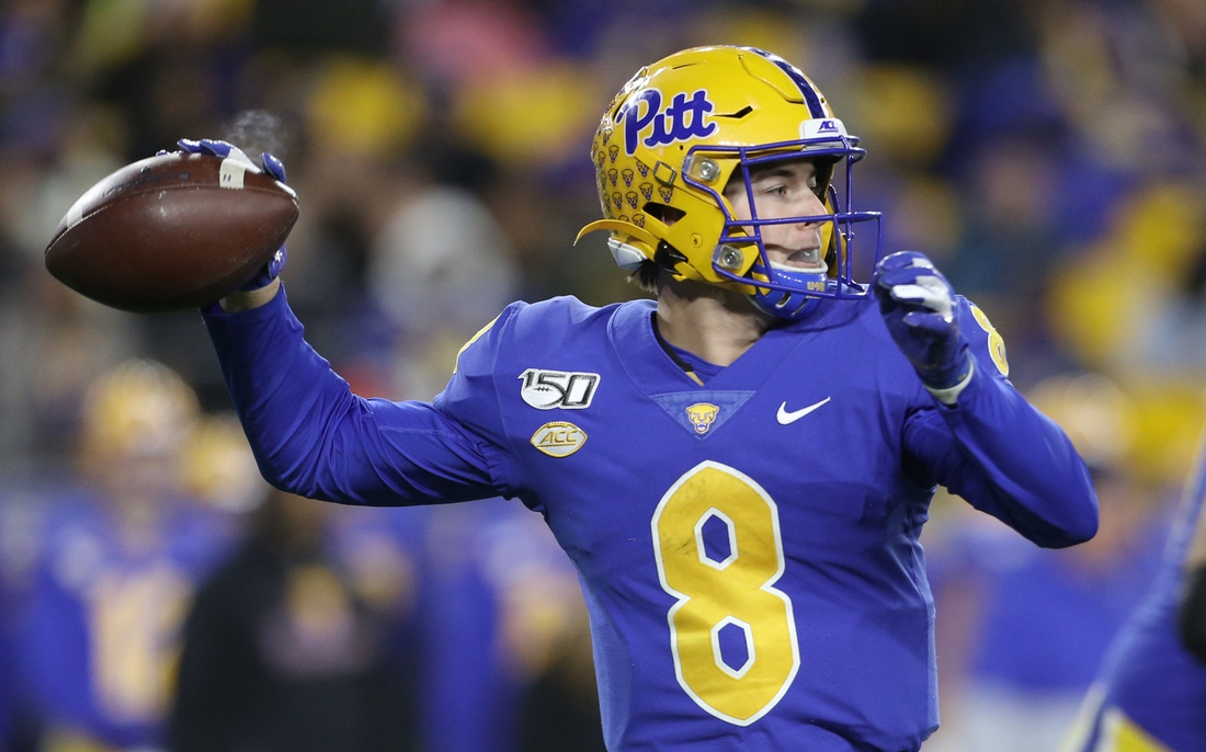 Nov 30, 2019; Pittsburgh, PA, USA;   Pittsburgh Panthers quarterback Kenny Pickett (8) passes against the Boston College Eagles during the fourth quarter at Heinz Field. Mandatory Credit: Charles LeClaire-USA TODAY Sports