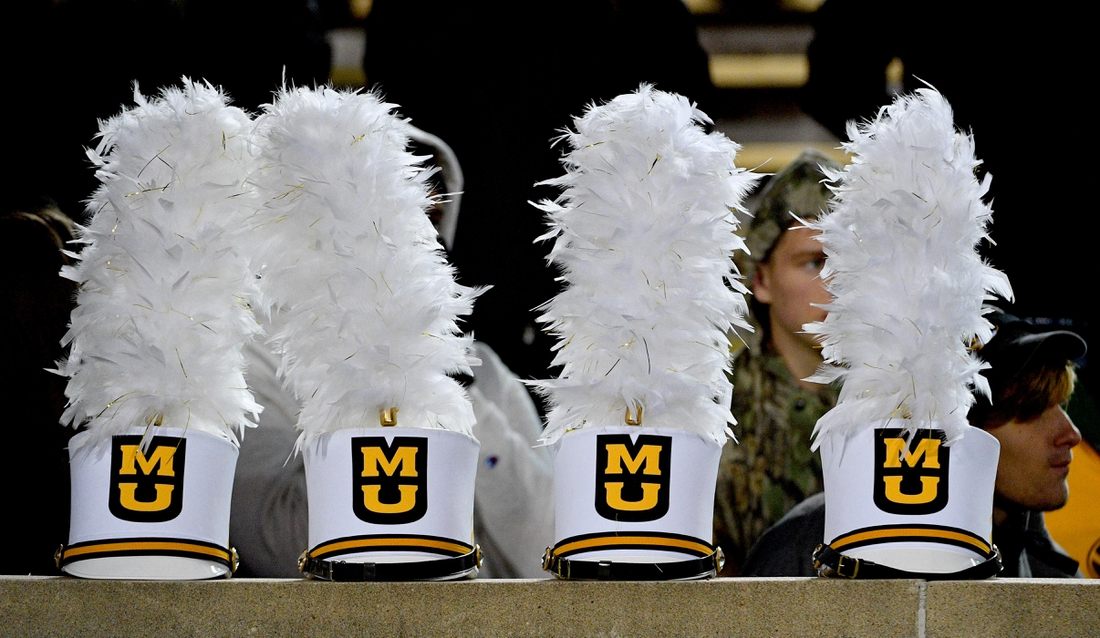 Nov 23, 2019; Columbia, MO, USA; A general view of the Missouri Tigers marching band hats during the game against the Tennessee Volunteers at Memorial Stadium/Faurot Field. Mandatory Credit: Denny Medley-USA TODAY Sports