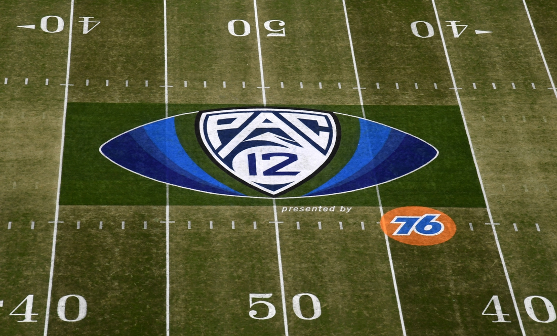 Dec 6, 2019; Santa Clara, CA, USA; General overall view of Pac-12 logo at midfield prior to the Pac-12 Conference championship game between the Oregon Ducks and the Utah Utes at Levi's Stadium. Mandatory Credit: Kirby Lee-USA TODAY Sports