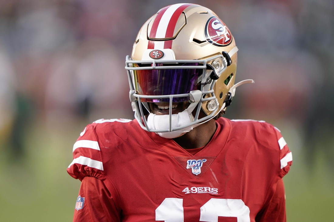 Nov 24, 2019; Santa Clara, CA, USA; San Francisco 49ers wide receiver Richie James (13) warms up before the game against the Green Bay Packers at Levi's Stadium. Mandatory Credit: Stan Szeto-USA TODAY Sports