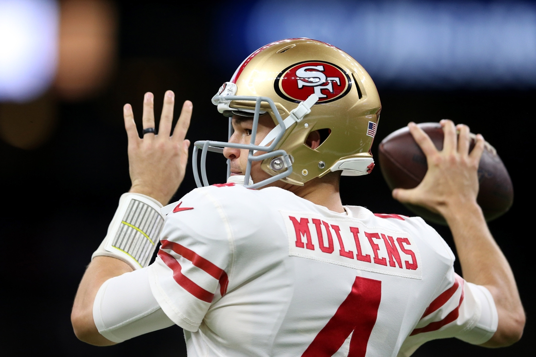 Dec 8, 2019; New Orleans, LA, USA; San Francisco 49ers quarterback Nick Mullens (4) before their game against the New Orleans Saints at the Mercedes-Benz Superdome. Mandatory Credit: Chuck Cook-USA TODAY Sports