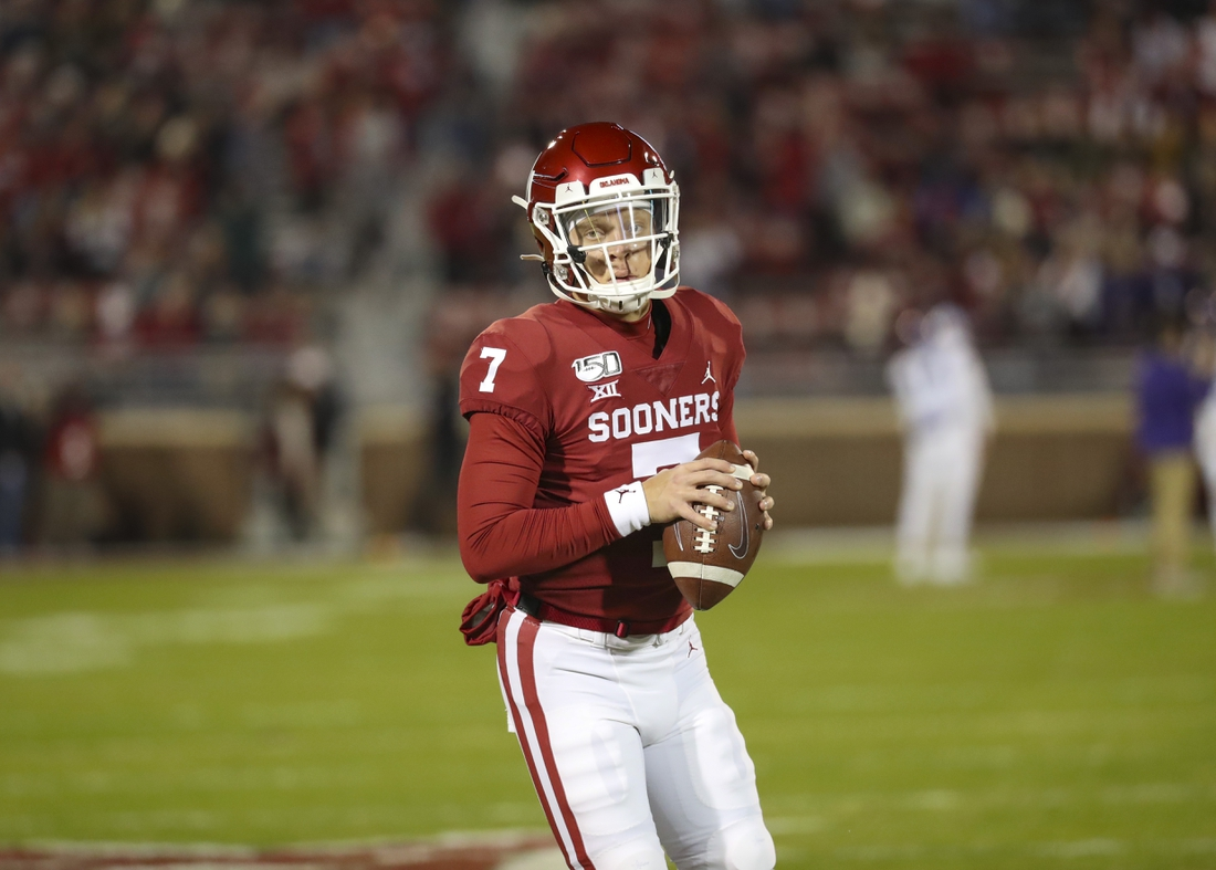 Nov 23, 2019; Norman, OK, USA; Oklahoma Sooners quarterback Spencer Rattler (7) warms up before the game against the TCU Horned Frogs at Gaylord Family - Oklahoma Memorial Stadium. Mandatory Credit: Kevin Jairaj-USA TODAY Sports